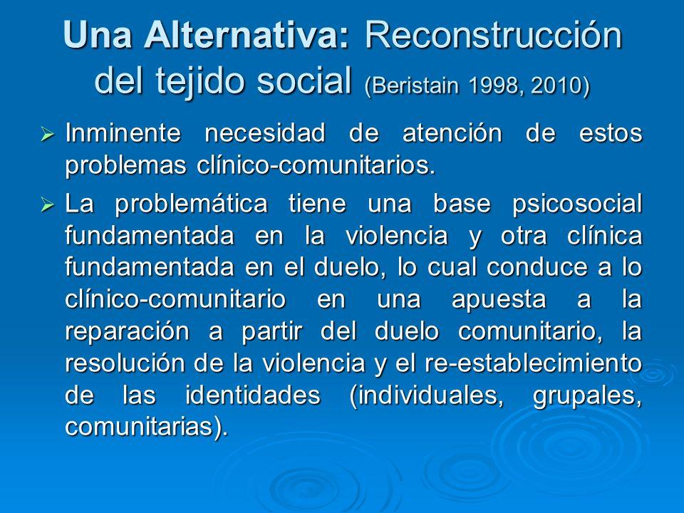 Una Alternativa: Reconstrucción del tejido social (Beristain 1998, 2010) Inminente necesidad de atención de estos problemas clínico-comunitarios. Inmi