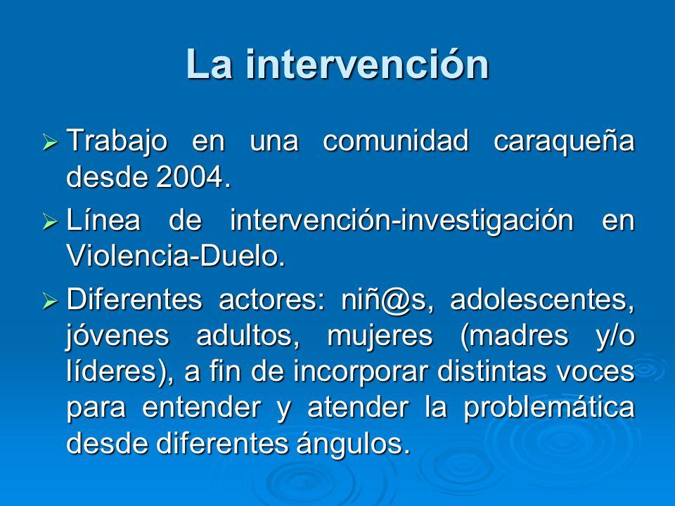 La intervención Trabajo en una comunidad caraqueña desde 2004. Trabajo en una comunidad caraqueña desde 2004. Línea de intervención-investigación en V