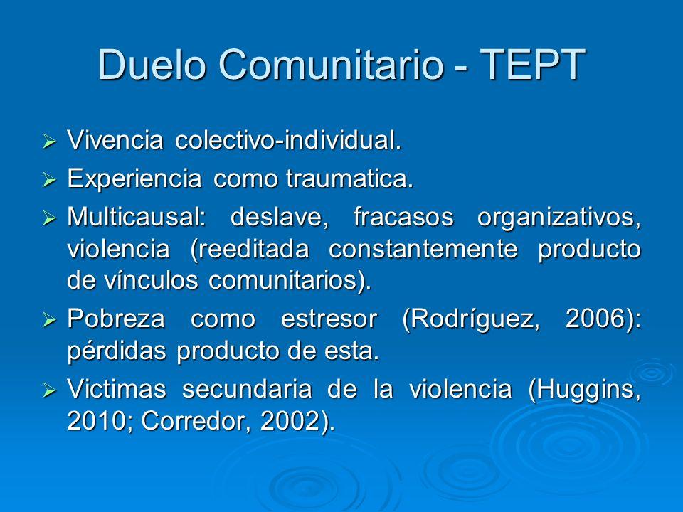 Duelo Comunitario - TEPT Vivencia colectivo-individual. Vivencia colectivo-individual. Experiencia como traumatica. Experiencia como traumatica. Multi