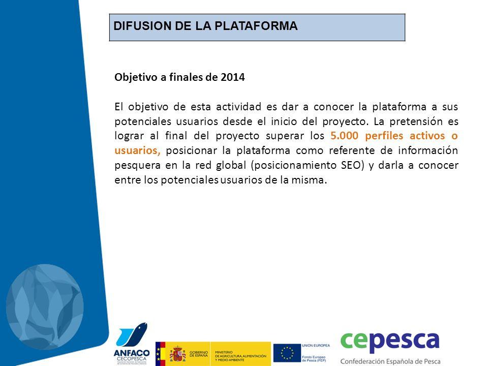 DIFUSION DE LA PLATAFORMA Objetivo a finales de 2014 El objetivo de esta actividad es dar a conocer la plataforma a sus potenciales usuarios desde el