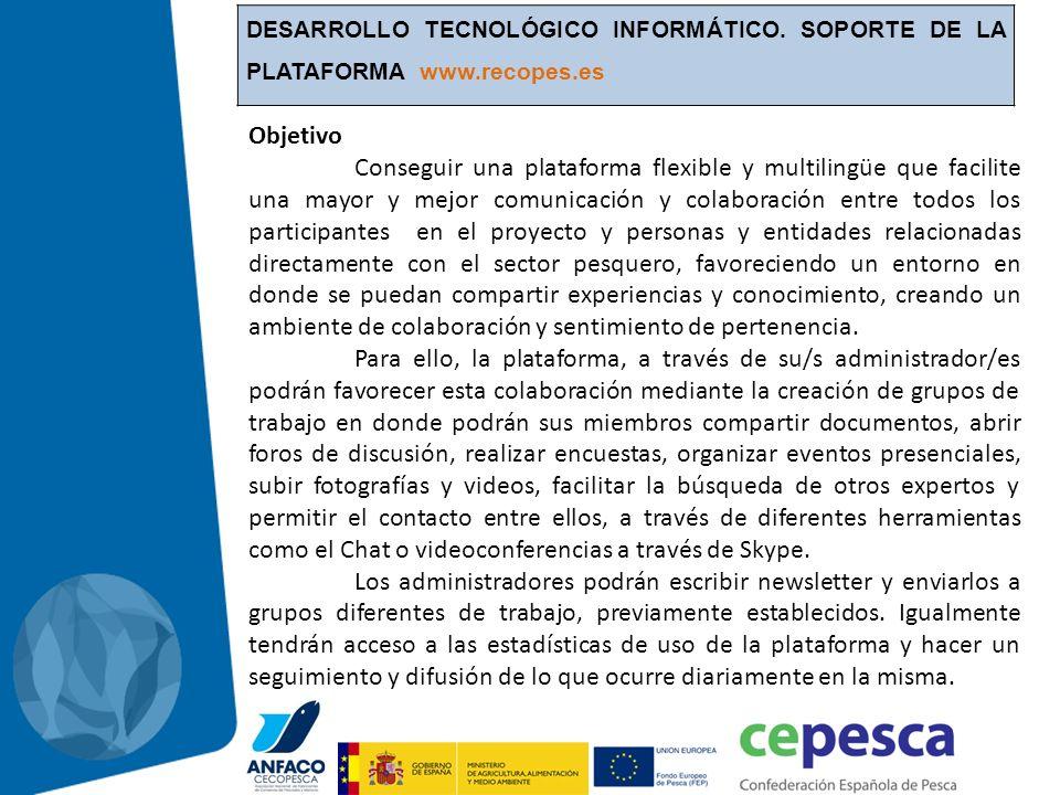 DESARROLLO TECNOLÓGICO INFORMÁTICO. SOPORTE DE LA PLATAFORMA www.recopes.es Objetivo Conseguir una plataforma flexible y multilingüe que facilite una