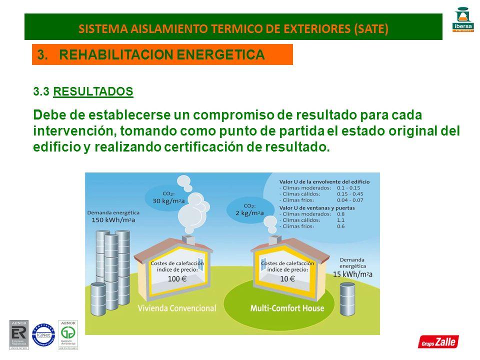 3. REHABILITACION ENERGETICA 3.3 RESULTADOS Debe de establecerse un compromiso de resultado para cada intervención, tomando como punto de partida el e