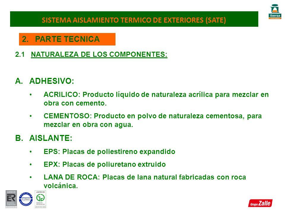 2. PARTE TECNICA 2.1 NATURALEZA DE LOS COMPONENTES: A.ADHESIVO: ACRILICO: Producto líquido de naturaleza acrílica para mezclar en obra con cemento. CE