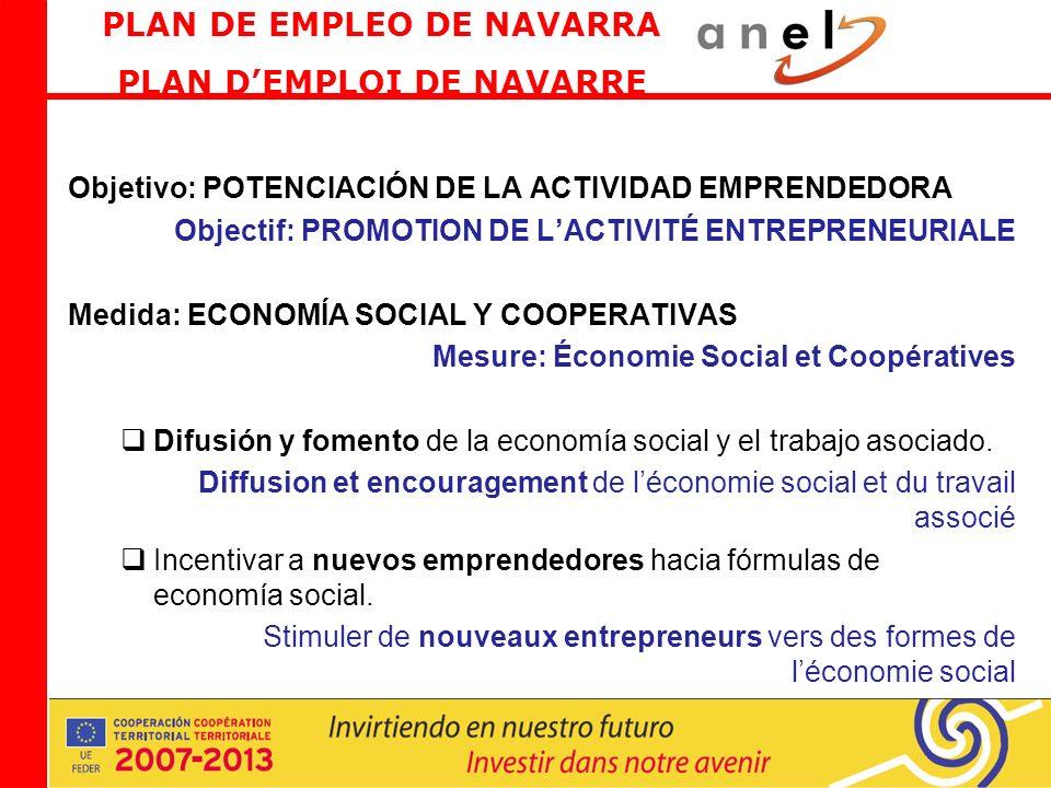 Objetivo: POTENCIACIÓN DE LA ACTIVIDAD EMPRENDEDORA Objectif: PROMOTION DE LACTIVITÉ ENTREPRENEURIALE Medida: ECONOMÍA SOCIAL Y COOPERATIVAS Mesure: Économie Social et Coopératives Difusión y fomento de la economía social y el trabajo asociado.