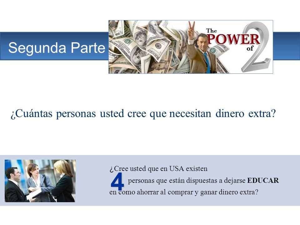 The Company Segunda Parte ¿Cuántas personas usted cree que necesitan dinero extra? ¿ Cree usted que en USA existen personas que están dispuestas a dej