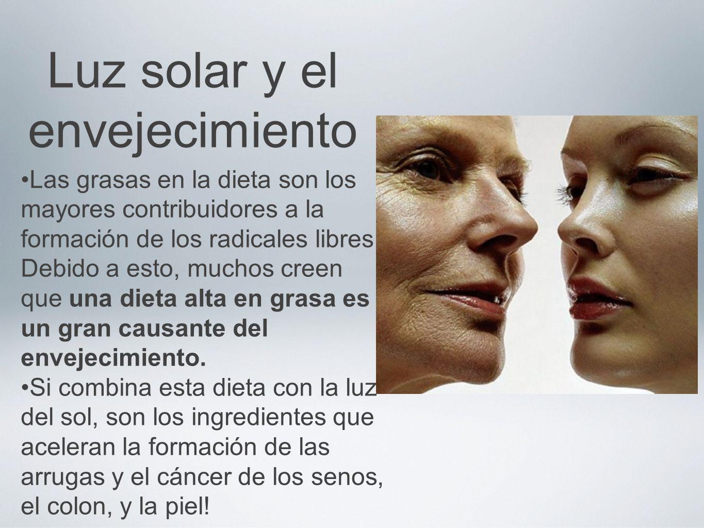 Luz solar y el envejecimiento Las grasas en la dieta son los mayores contribuidores a la formación de los radicales libres. Debido a esto, muchos cree