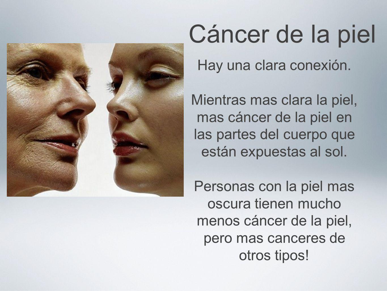 Cáncer de la piel Hay una clara conexión. Mientras mas clara la piel, mas cáncer de la piel en las partes del cuerpo que están expuestas al sol. Perso