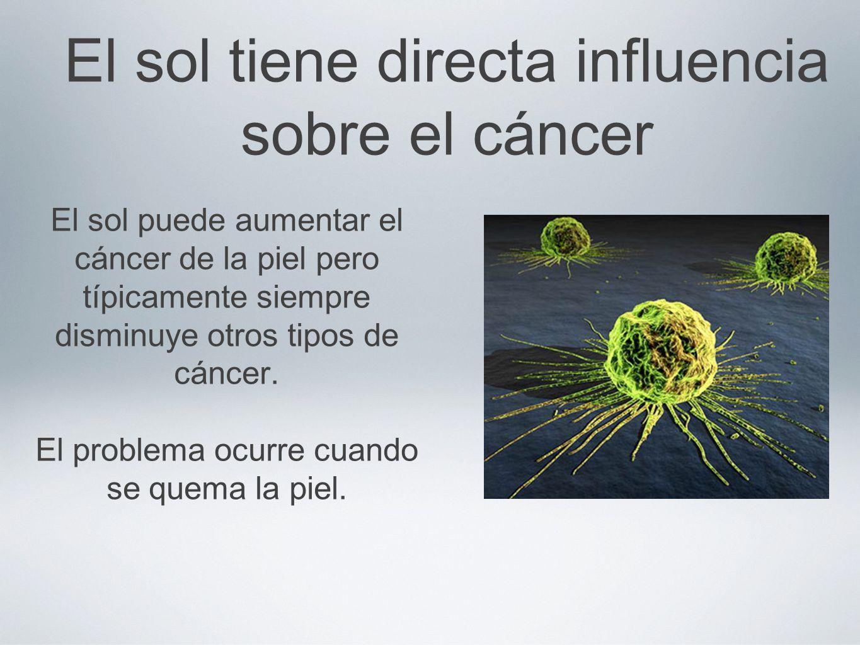 El sol tiene directa influencia sobre el cáncer El sol puede aumentar el cáncer de la piel pero típicamente siempre disminuye otros tipos de cáncer. E
