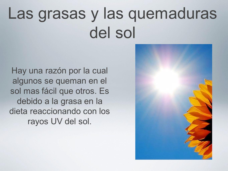 Las grasas y las quemaduras del sol Hay una razón por la cual algunos se queman en el sol mas fácil que otros. Es debido a la grasa en la dieta reacci