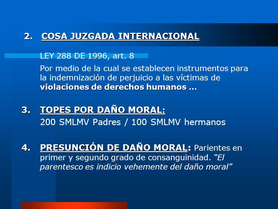 2. COSA JUZGADA INTERNACIONAL LEY 288 DE 1996, art. 8 violaciones de derechos humanos … Por medio de la cual se establecen instrumentos para la indemn