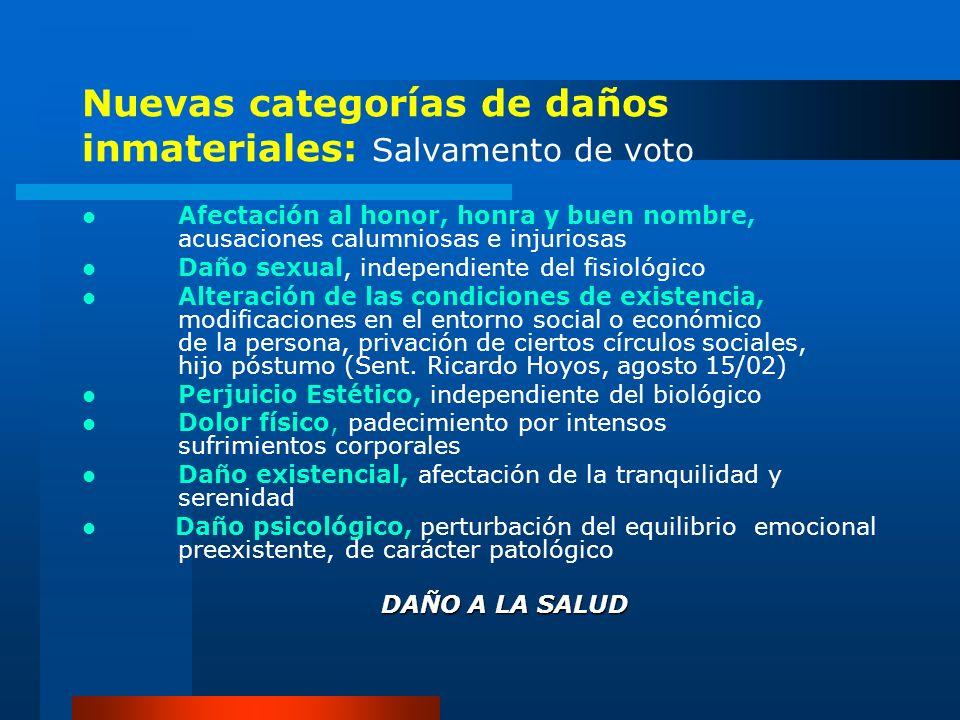 Nuevas categorías de daños inmateriales: Salvamento de voto Afectación al honor, honra y buen nombre, acusaciones calumniosas e injuriosas Daño sexual