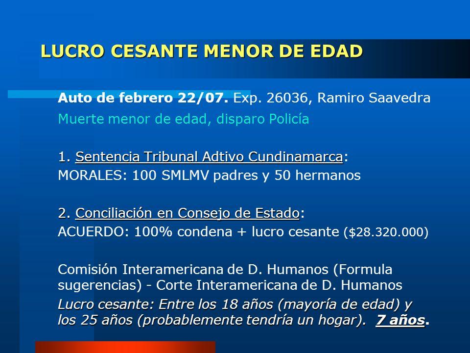 LUCRO CESANTE MENOR DE EDAD Auto de febrero 22/07. Exp. 26036, Ramiro Saavedra Muerte menor de edad, disparo Policía 1. Sentencia Tribunal Adtivo Cund