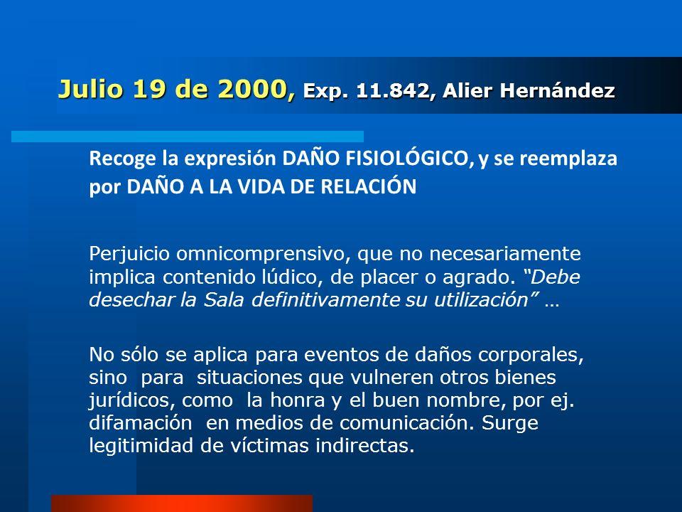 Julio 19 de 2000, Exp. 11.842, Alier Hernández Recoge la expresión DAÑO FISIOLÓGICO, y se reemplaza por DAÑO A LA VIDA DE RELACIÓN Perjuicio omnicompr
