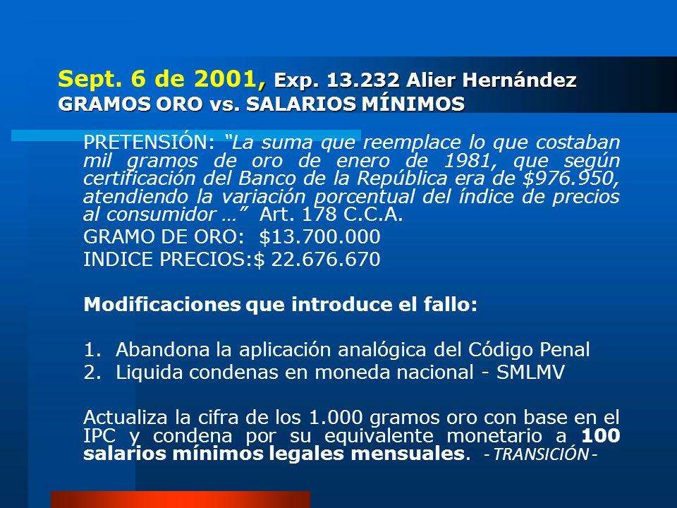 , Exp. 13.232 Alier Hernández GRAMOS ORO vs. SALARIOS MÍNIMOS Sept. 6 de 2001, Exp. 13.232 Alier Hernández GRAMOS ORO vs. SALARIOS MÍNIMOS PRETENSIÓN: