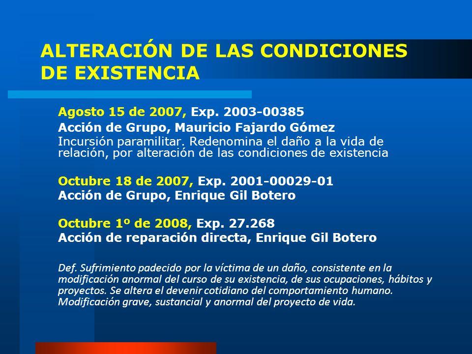 ALTERACIÓN DE LAS CONDICIONES DE EXISTENCIA Agosto 15 de 2007, Exp. 2003-00385 Acción de Grupo, Mauricio Fajardo Gómez Incursión paramilitar. Redenomi
