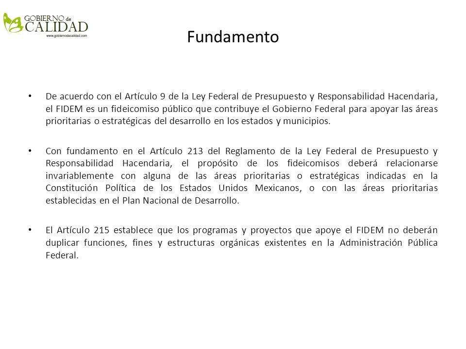 Fundamento De acuerdo con el Artículo 9 de la Ley Federal de Presupuesto y Responsabilidad Hacendaria, el FIDEM es un fideicomiso público que contribu