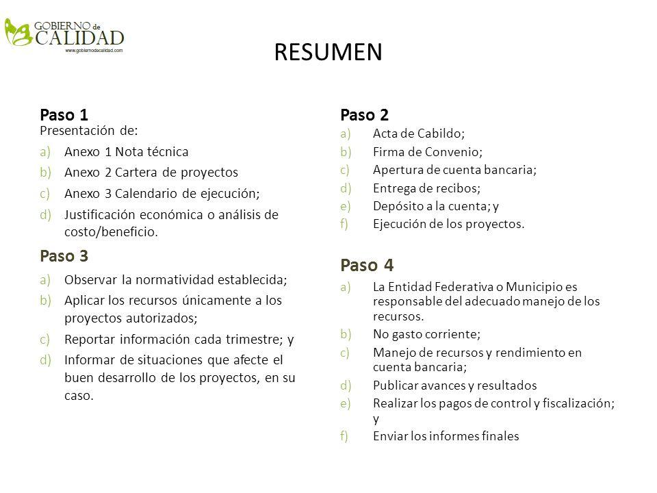 RESUMEN Paso 2 Presentación de: a)Anexo 1 Nota técnica b)Anexo 2 Cartera de proyectos c)Anexo 3 Calendario de ejecución; d)Justificación económica o a