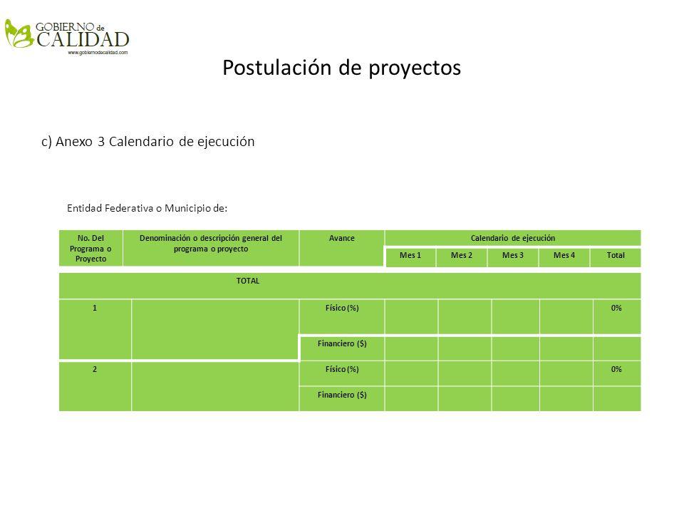 Postulación de proyectos c) Anexo 3 Calendario de ejecución Entidad Federativa o Municipio de: No. Del Programa o Proyecto Denominación o descripción
