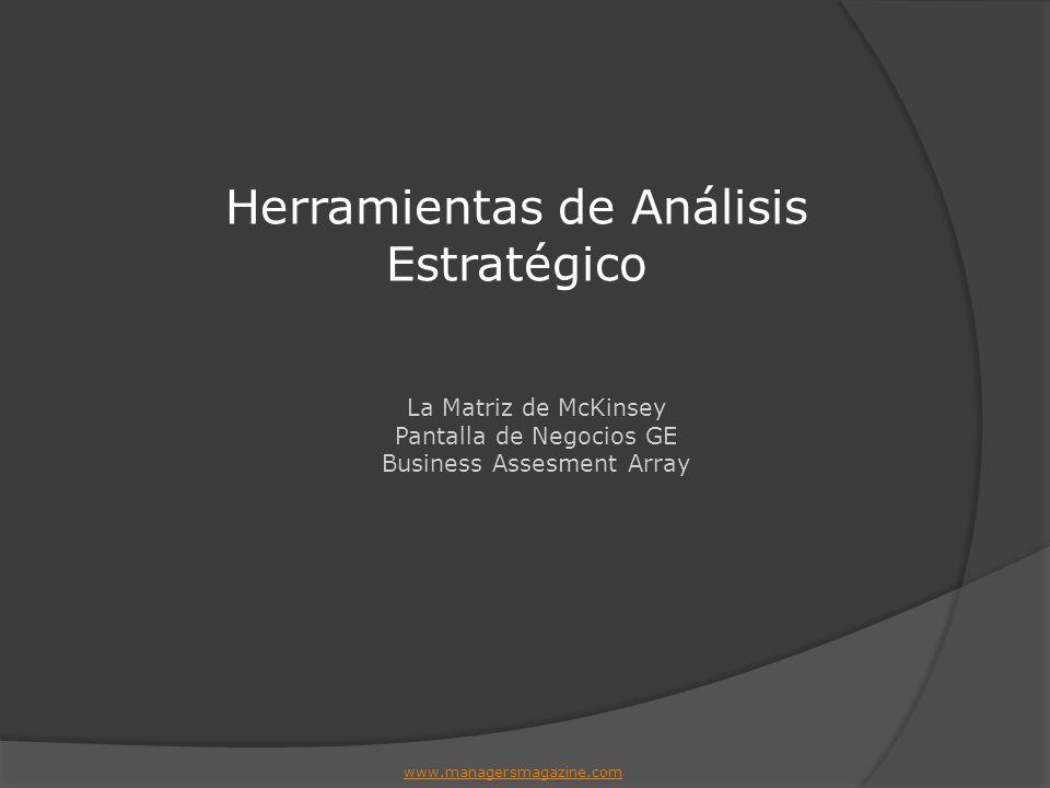 La Matriz de McKinsey Pantalla de Negocios GE Business Assesment Array Herramientas de Análisis Estratégico www.managersmagazine.com
