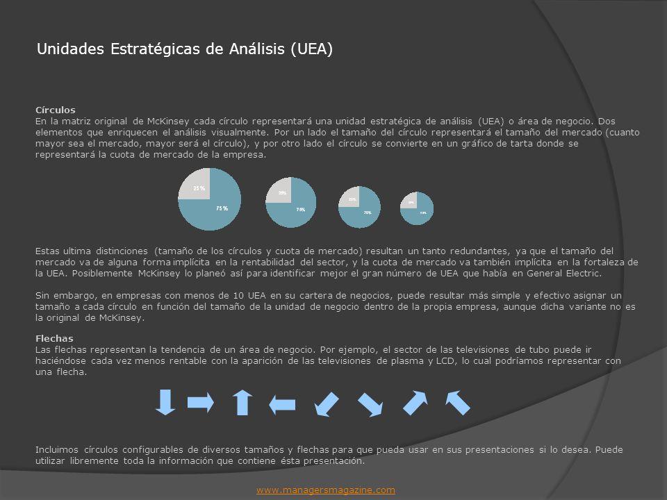 Unidades Estratégicas de Análisis (UEA) Círculos En la matriz original de McKinsey cada círculo representará una unidad estratégica de análisis (UEA)