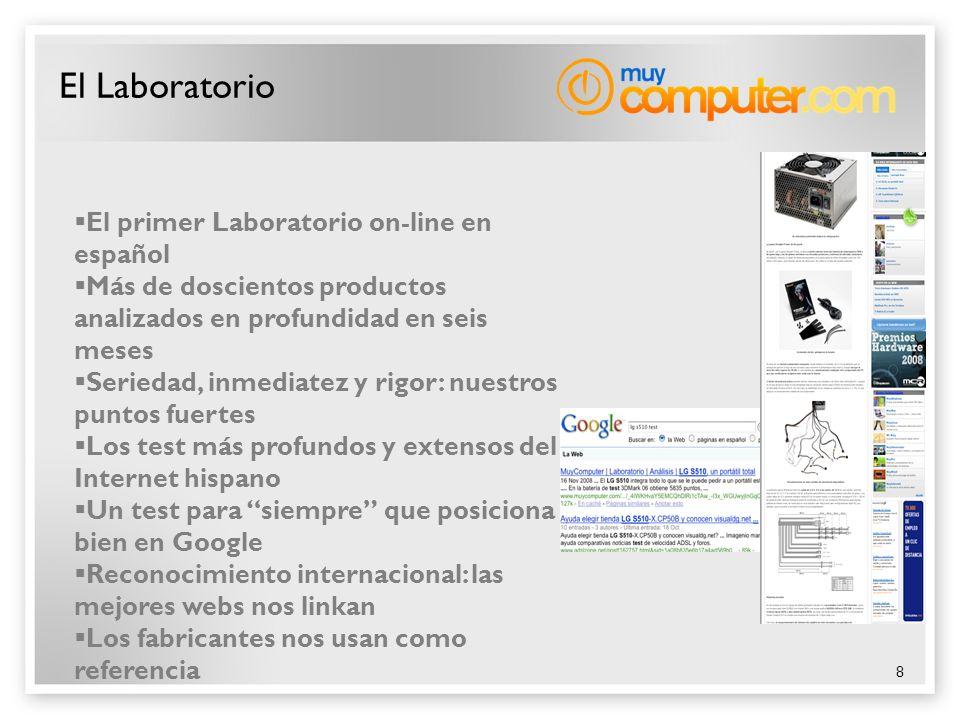 8 El Laboratorio El primer Laboratorio on-line en español Más de doscientos productos analizados en profundidad en seis meses Seriedad, inmediatez y r