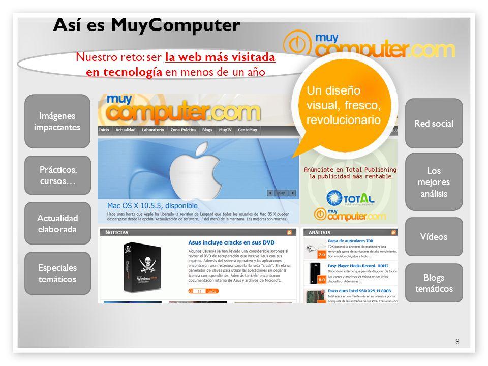 8 Así es MuyComputer Nuestro reto: ser la web más visitada en tecnología en menos de un año Vídeos Los mejores análisis Imágenes impactantes Actualida
