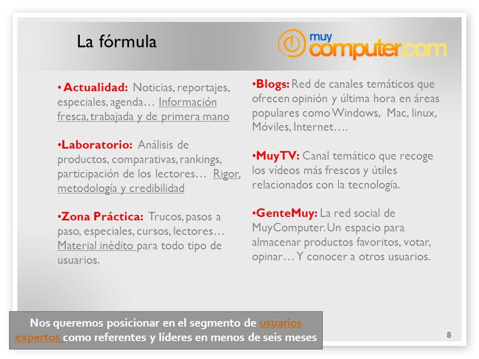 8 La fórmula Actualidad: Noticias, reportajes, especiales, agenda… Información fresca, trabajada y de primera mano Laboratorio: Análisis de productos,