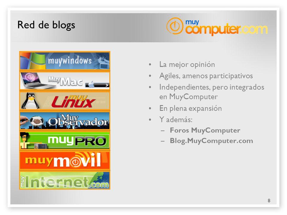 8 Red de blogs La mejor opinión Agiles, amenos participativos Independientes, pero integrados en MuyComputer En plena expansión Y además: –Foros MuyCo