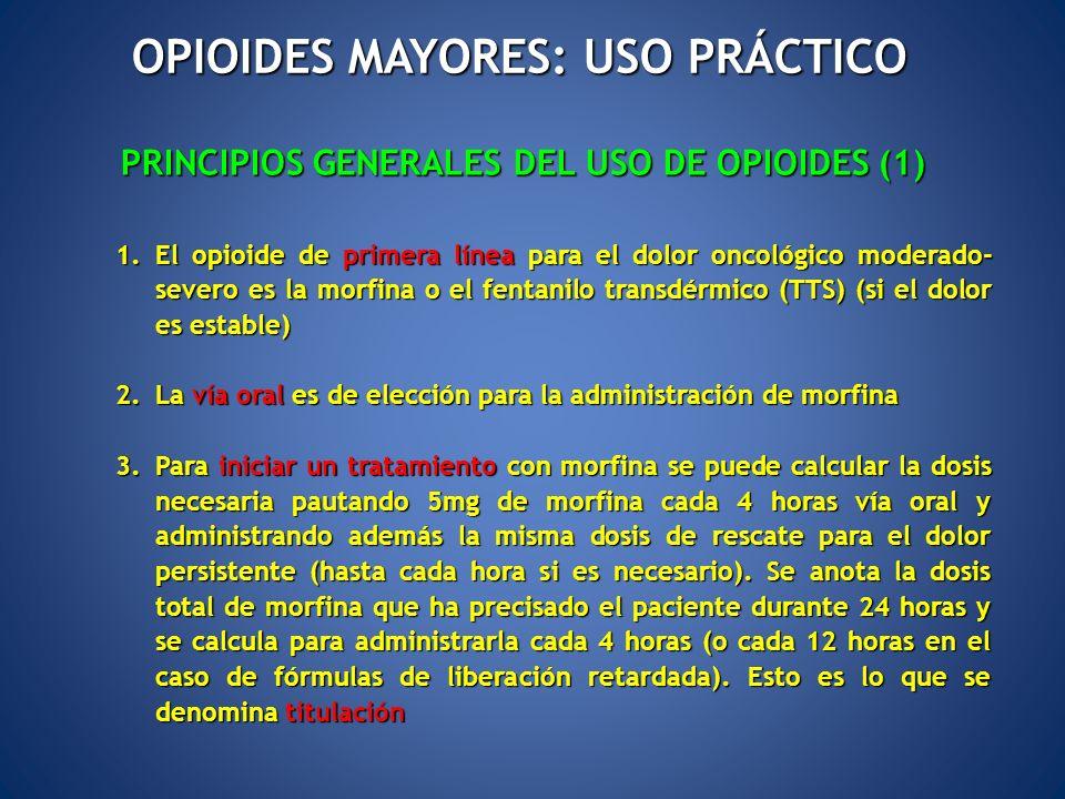 PRINCIPIOS GENERALES DEL USO DE OPIOIDES (1) 1.El opioide de primera línea para el dolor oncológico moderado- severo es la morfina o el fentanilo tran
