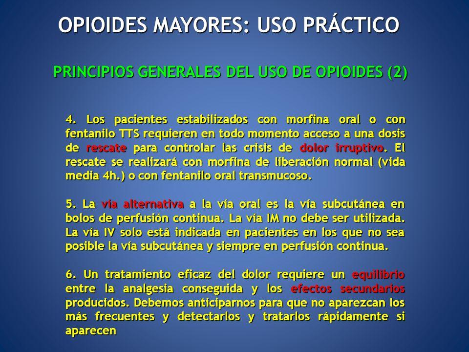 PRINCIPIOS GENERALES DEL USO DE OPIOIDES (2) 4. Los pacientes estabilizados con morfina oral o con fentanilo TTS requieren en todo momento acceso a un