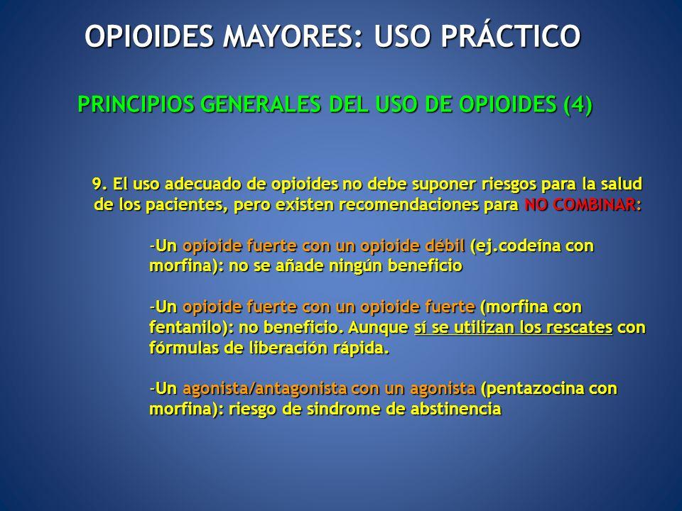 9. El uso adecuado de opioides no debe suponer riesgos para la salud de los pacientes, pero existen recomendaciones para NO COMBINAR: 9. El uso adecua