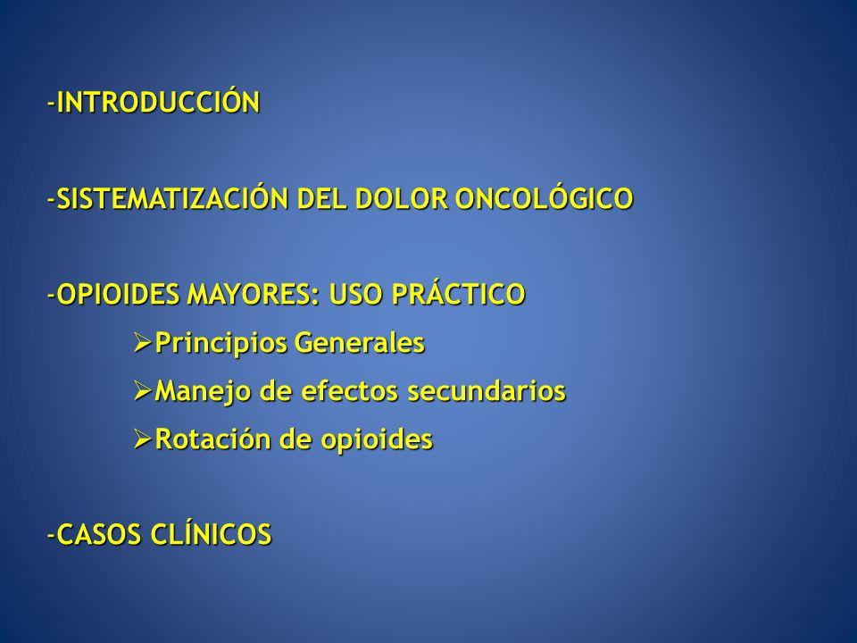 ANALGÉSICOS OPIOIDES: CLASIFICACIÓN -SEGÚN ACTIVIDAD: -Opioides débiles Dosis inicial Dosis máxima -Tramadol 50mg/6-8h 100mg/6h -Codeína 30mg/6h 60mg/4h -Dihidrocodeína 60mg/12h 100mg/6h -Opioides fuertes (morfina, fentanilo, oxicodona, buprenorfina) -SEGÚN ORIGEN: -Opio y alcaloides del opio (codeína, morfina) -Derivados semisintéticos de alcaloides del opio (buprenorfina,oxicodona) -Sustancias sintéticas (fentanilo, metadona) OPIOIDES MAYORES: USO PRÁCTICO