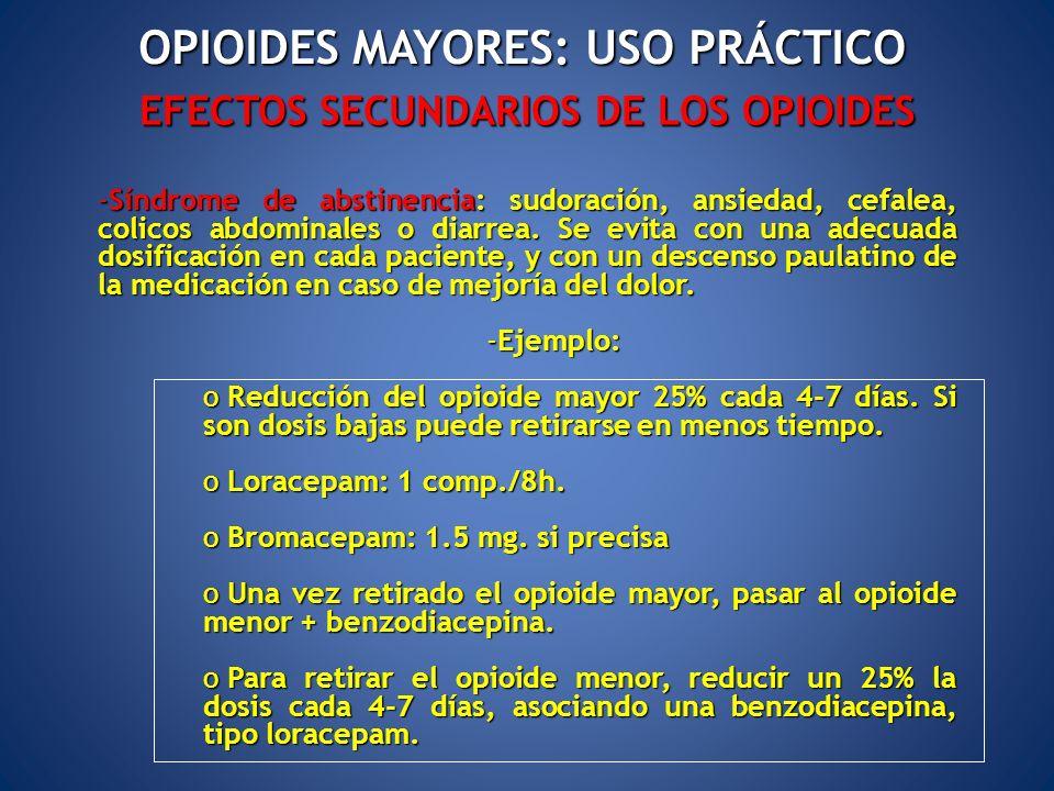 EFECTOS SECUNDARIOS DE LOS OPIOIDES -Síndrome de abstinencia: sudoración, ansiedad, cefalea, colicos abdominales o diarrea. Se evita con una adecuada