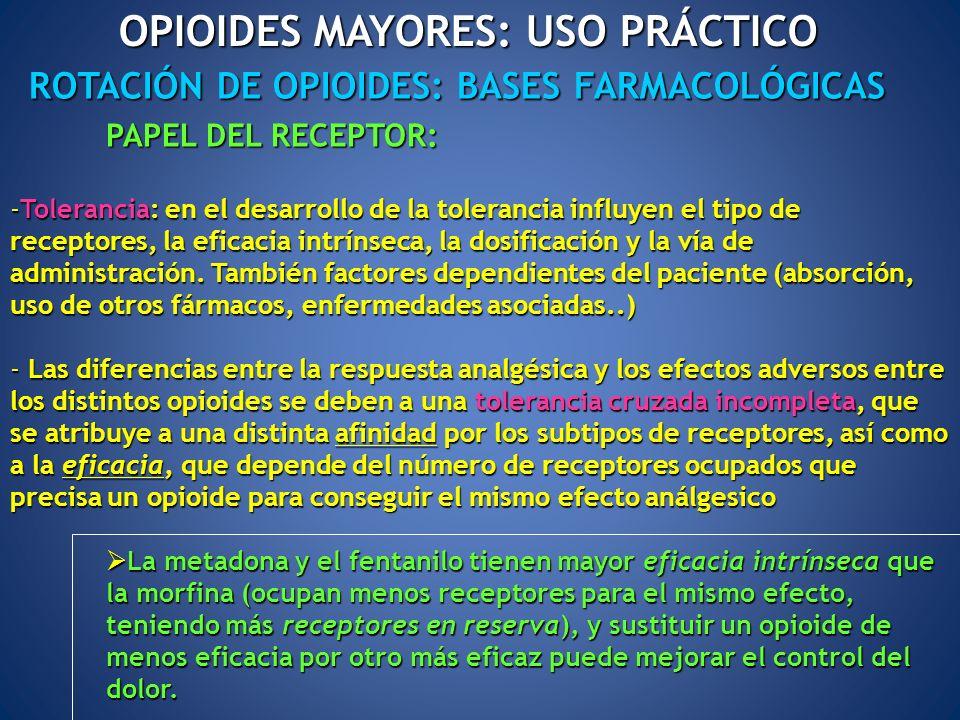 ROTACIÓN DE OPIOIDES: BASES FARMACOLÓGICAS OPIOIDES MAYORES: USO PRÁCTICO PAPEL DEL RECEPTOR: -Tolerancia: en el desarrollo de la tolerancia influyen