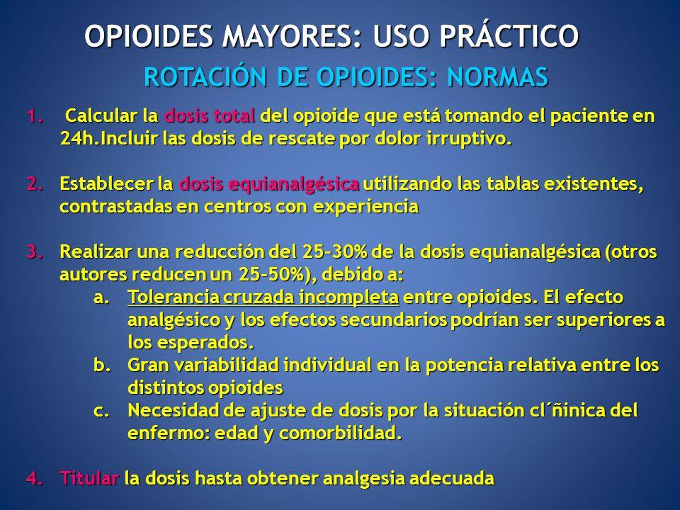 ROTACIÓN DE OPIOIDES: NORMAS OPIOIDES MAYORES: USO PRÁCTICO 1. Calcular la dosis total del opioide que está tomando el paciente en 24h.Incluir las dos