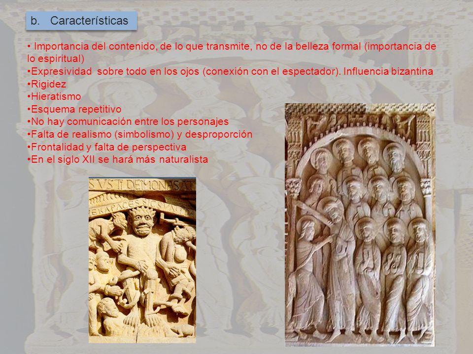 b. Características Importancia del contenido, de lo que transmite, no de la belleza formal (importancia de lo espiritual) Expresividad sobre todo en l