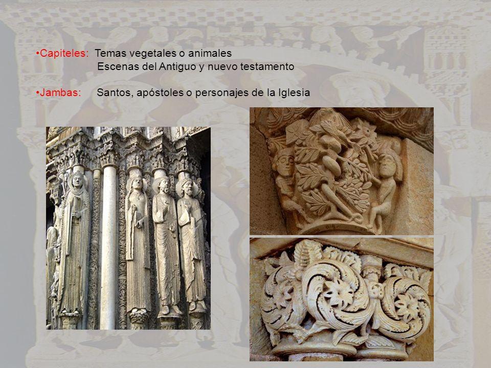 Capiteles: Temas vegetales o animales Escenas del Antiguo y nuevo testamento Jambas: Santos, apóstoles o personajes de la Iglesia