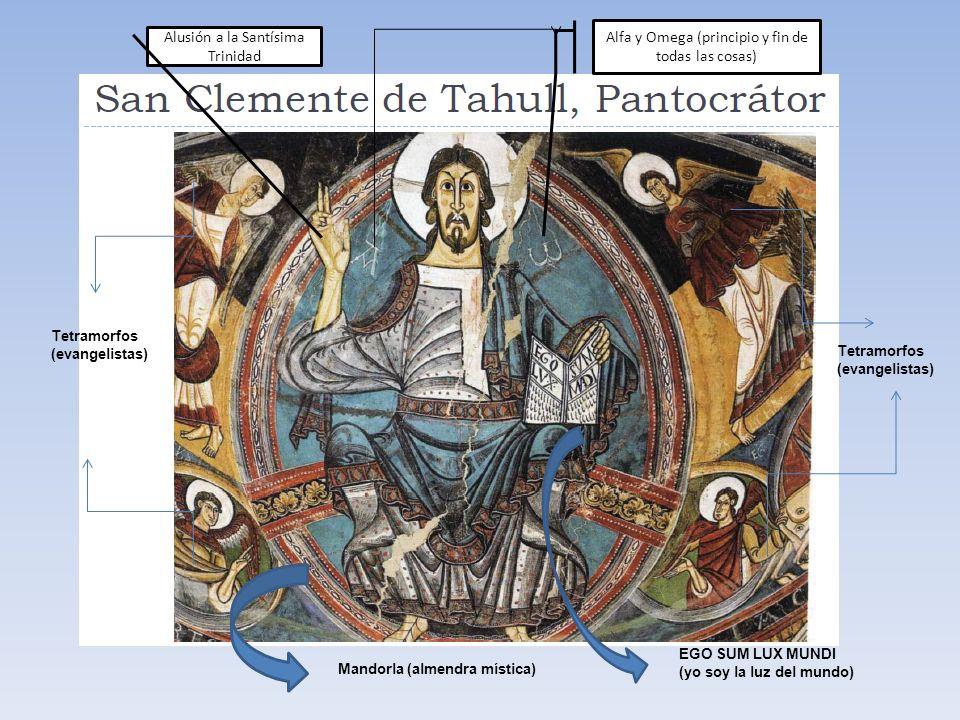 Tetramorfos (evangelistas) Mandorla (almendra mística) Alusión a la Santísima Trinidad Alfa y Omega (principio y fin de todas las cosas) EGO SUM LUX M