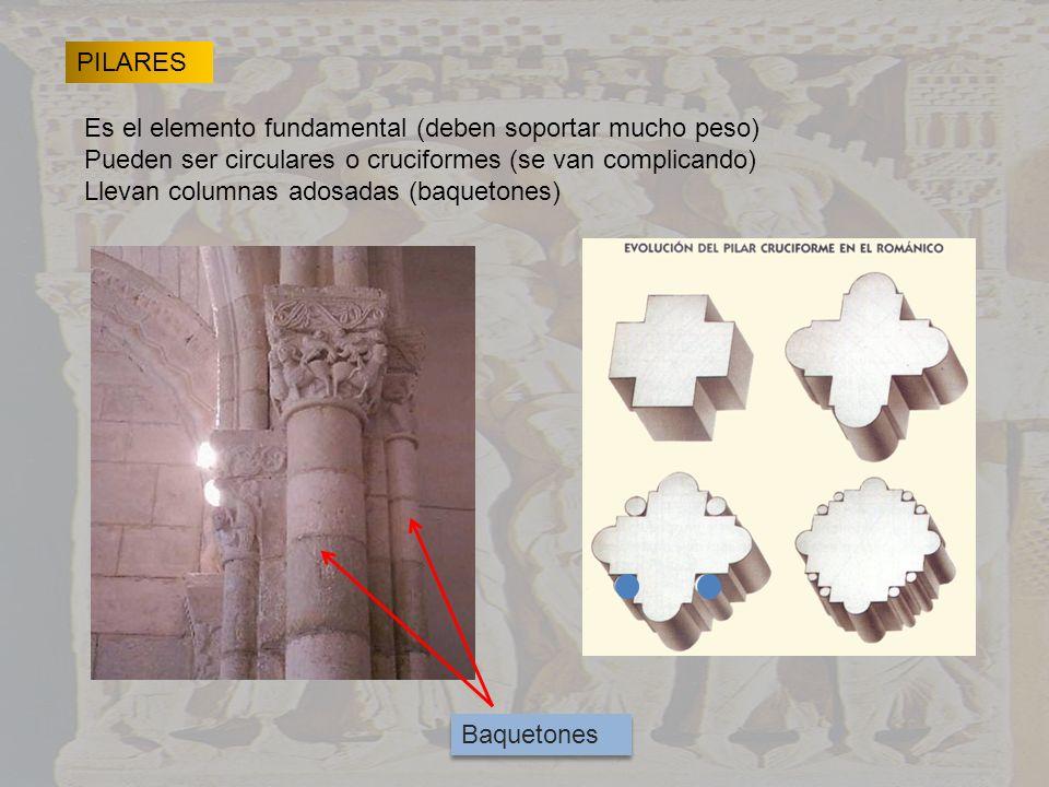 PILARES Es el elemento fundamental (deben soportar mucho peso) Pueden ser circulares o cruciformes (se van complicando) Llevan columnas adosadas (baqu