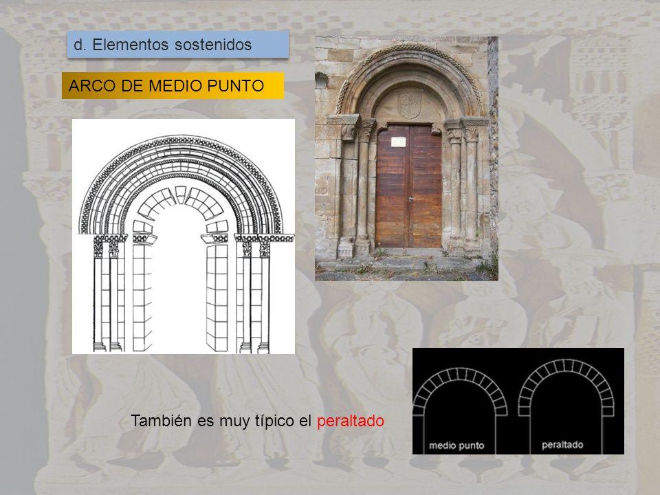 BÓVEDA DE CAÑÓN Se refuerzan con arcos fajones que desembocan en los contrafuertes En las intersecciones se cruzan dos bóvedas de cañón formando la bóveda de arista En los ábsides se introducen bóvedas de cuarto de esfera
