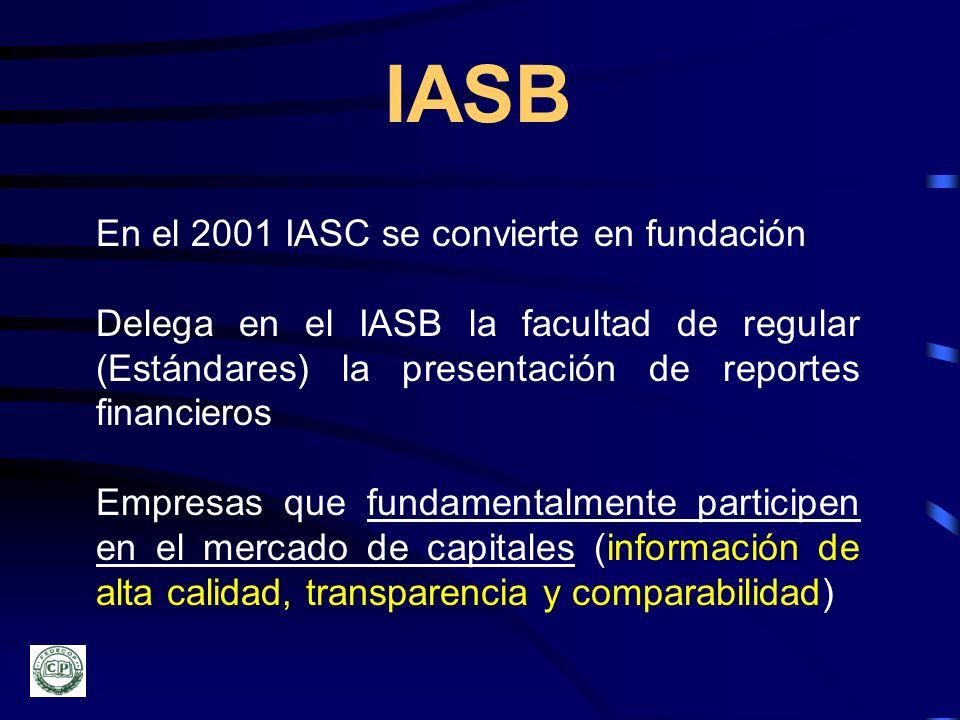 IASB En el 2001 IASC se convierte en fundación Delega en el IASB la facultad de regular (Estándares) la presentación de reportes financieros Empresas