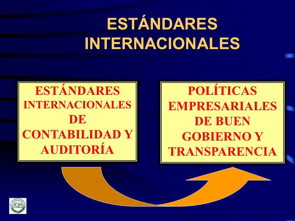 ESTÁNDARES INTERNACIONALES ESTÁNDARES INTERNACIONALES DE CONTABILIDAD Y AUDITORÍA POLÍTICAS EMPRESARIALES DE BUEN GOBIERNO Y TRANSPARENCIA