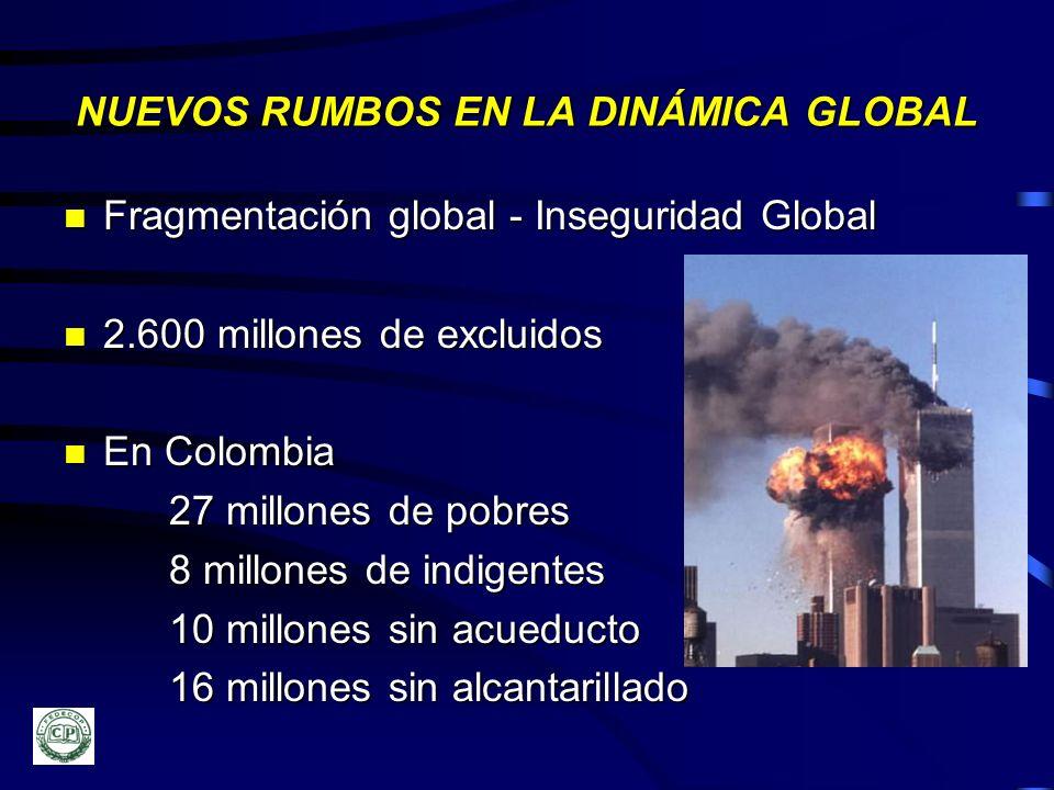 NUEVOS RUMBOS EN LA DINÁMICA GLOBAL n Fragmentación n Fragmentación global - Inseguridad Global n 2.600 n 2.600 millones de excluidos n En n En Colomb