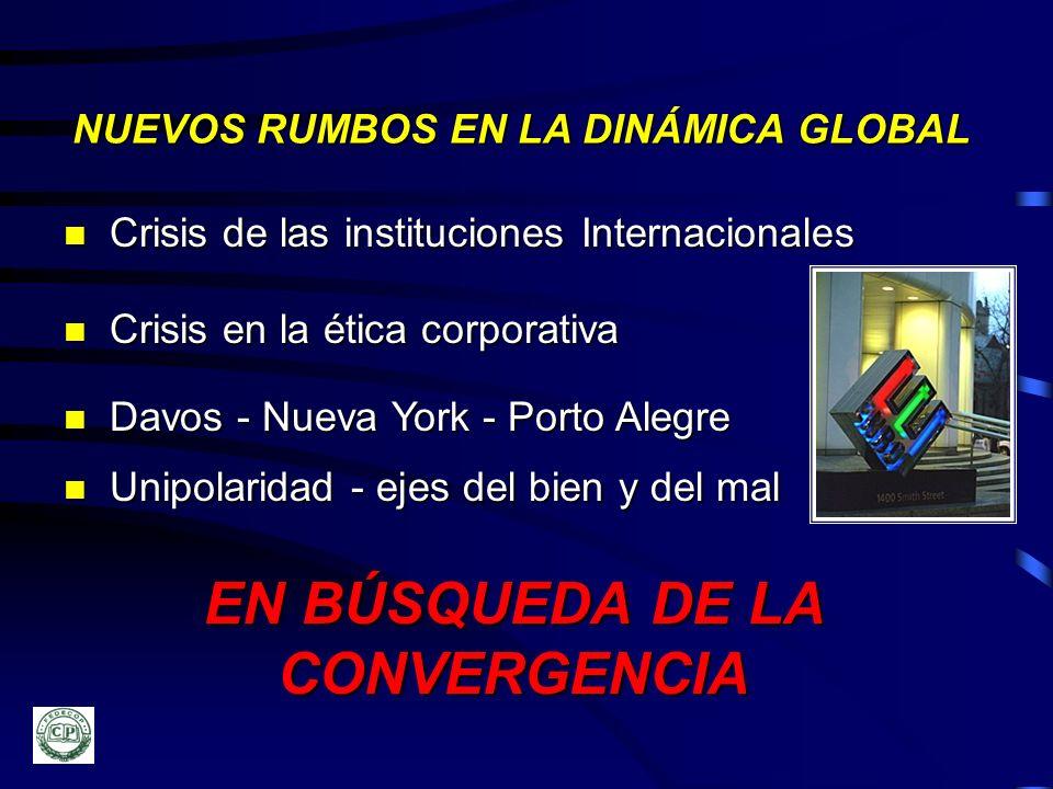 n Crisis de las instituciones Internacionales n Crisis en la ética corporativa n Davos - Nueva York - Porto Alegre EN BÚSQUEDA DE LA CONVERGENCIA NUEV