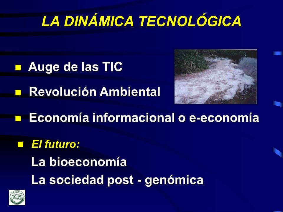 LA DINÁMICA TECNOLÓGICA n Auge de las TIC n Revolución Ambiental n Economía informacional o e-economía n El futuro: La bioeconomía La bioeconomía La s
