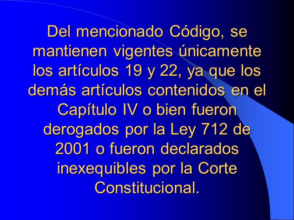 Del mencionado Código, se mantienen vigentes únicamente los artículos 19 y 22, ya que los demás artículos contenidos en el Capítulo IV o bien fueron d