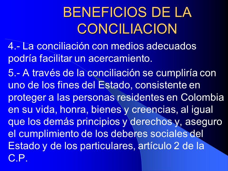 BENEFICIOS DE LA CONCILIACION 4.- La conciliación con medios adecuados podría facilitar un acercamiento. 5.- A través de la conciliación se cumpliría