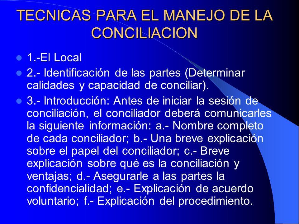 TECNICAS PARA EL MANEJO DE LA CONCILIACION 1.-El Local 2.- Identificación de las partes (Determinar calidades y capacidad de conciliar). 3.- Introducc