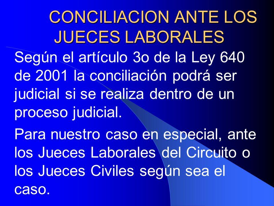 CONCILIACION ANTE LOS JUECES LABORALES Según el artículo 3o de la Ley 640 de 2001 la conciliación podrá ser judicial si se realiza dentro de un proces