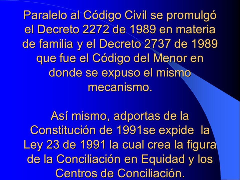 Paralelo al Código Civil se promulgó el Decreto 2272 de 1989 en materia de familia y el Decreto 2737 de 1989 que fue el Código del Menor en donde se e
